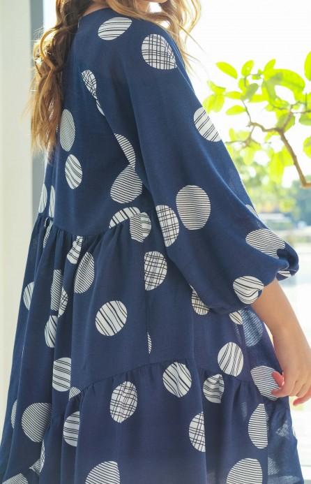 Сукня синя з пишними рукавами