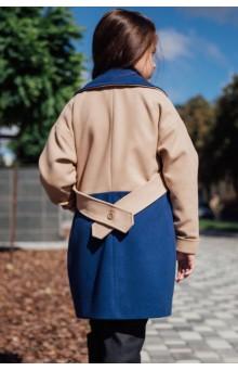 Двухцветное пальто бежево-синее