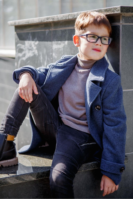 Пальто для мальчика сине-серое