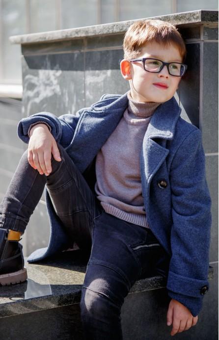 Пальто для хлопчика синьо-сіре