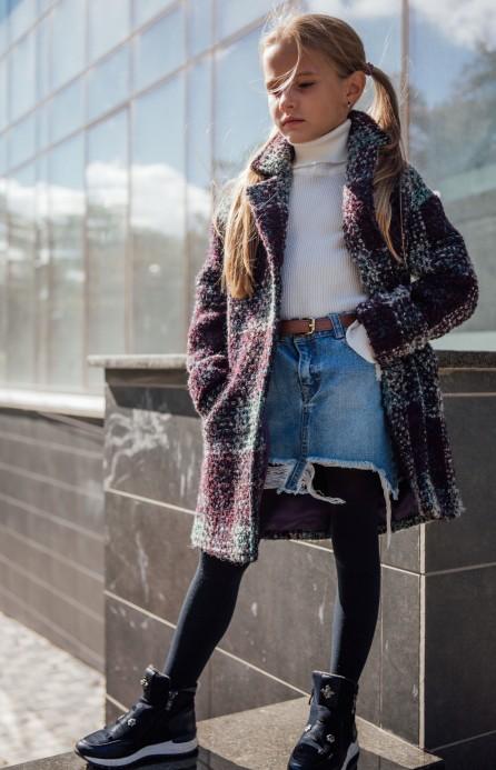 Пальто в клітинку фіолетово-бірюзове