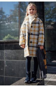 Пальто в клетку серо-горчичное