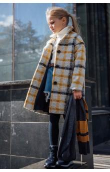 Пальто в клітинку сіро-гірчичне
