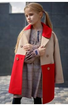 Двухцветное пальто бежево-красное