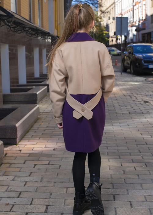 Двокольорове пальто бежево-фіолетове
