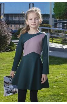 Сукня трикотажна з кольоровими блоками, зелена