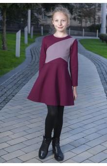 Сукня трикотажна з кольоровими блоками, бордова