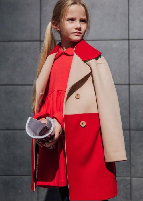 Двокольорове пальто бежево-червоне