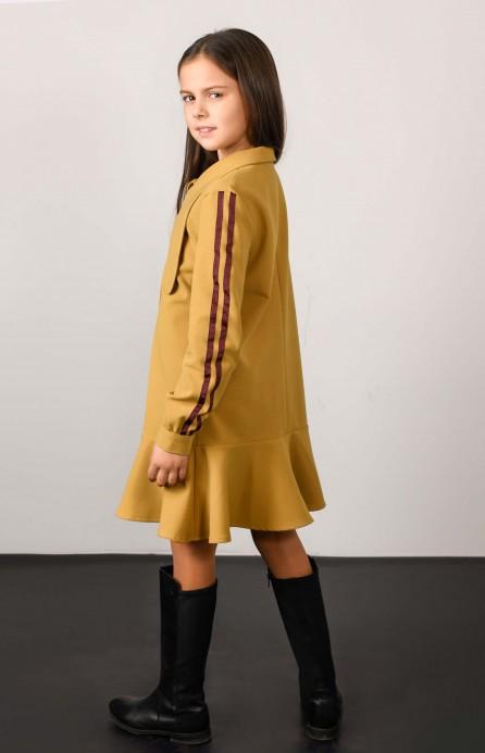 Сукня гірчична з лампасами