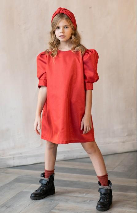 Платье красное с рукавами-буфами