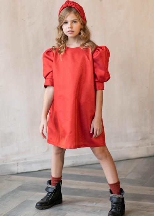 Сукня з рукавами-буфами червона