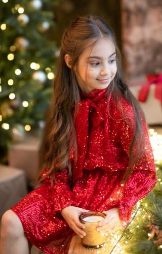 Платье из пайетки красное