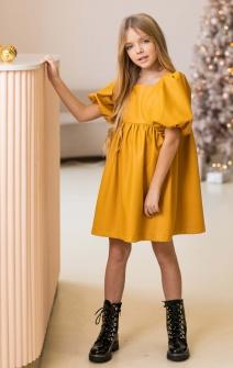 Сукня з екошкіри насичено-жовта