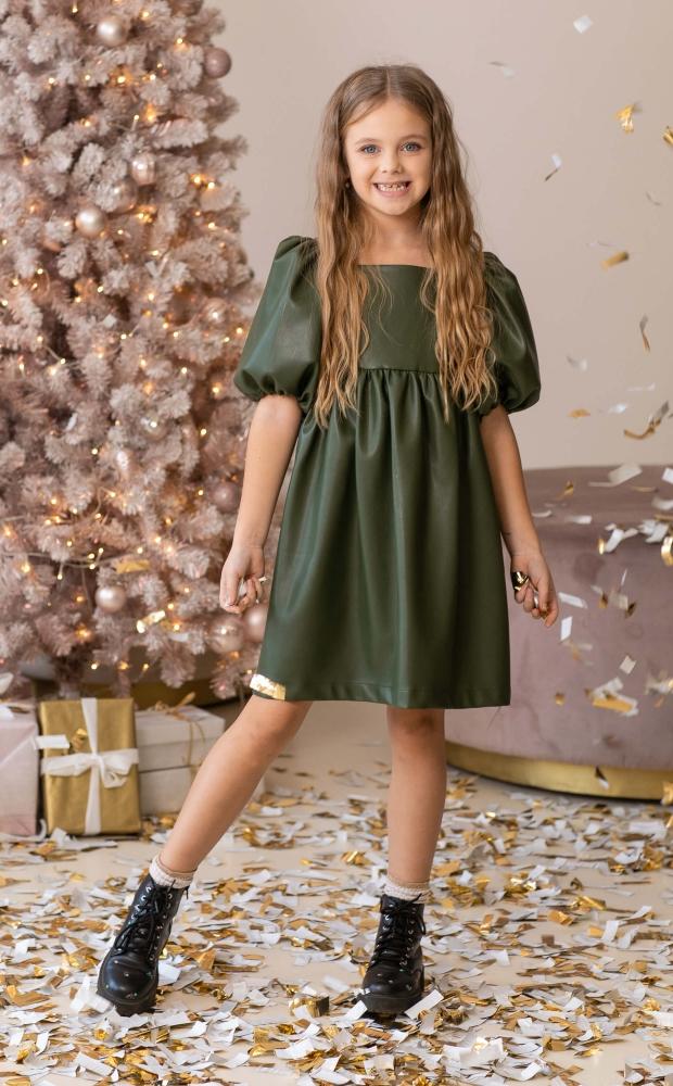 Платье из эко-кожи оливковое