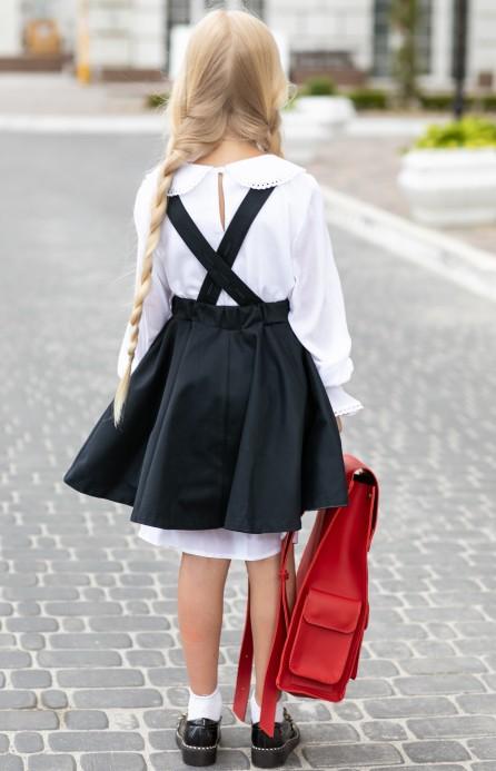 Блуза біла з мереживним комірцем подовжена