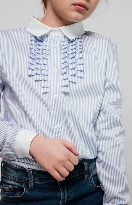 Блакитна сорочка у смужку з білим комірцем