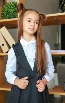 Сарафан школьный с поясом серый