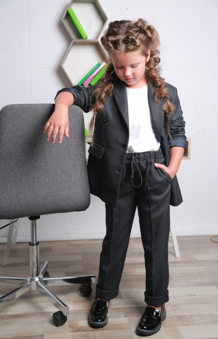 Жакет для дівчинки подовжений сірий