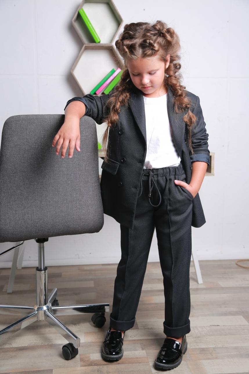 Жакет для девочки удлиненный серый