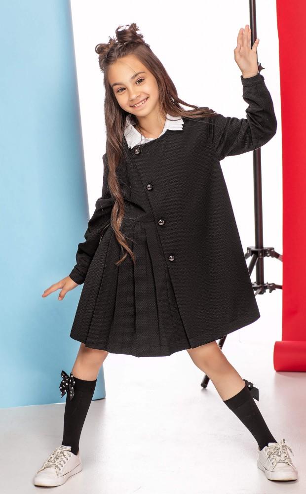 Платье с фантазийным воротником черное