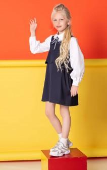 Блуза біла з пишними рукавами і фантазійним комірцем