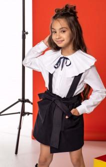 Блуза біла з коміром-плісе