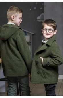Пальто для мальчика с капюшоном цвета хаки