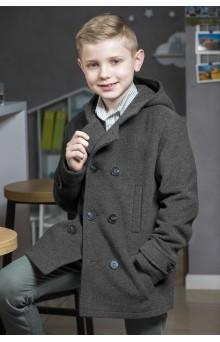 Пальто для хлопчика з капюшоном сіре