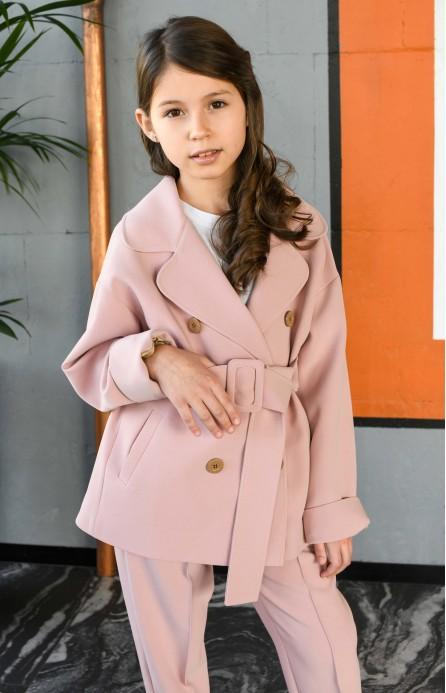 Жакет з поясом рожевий