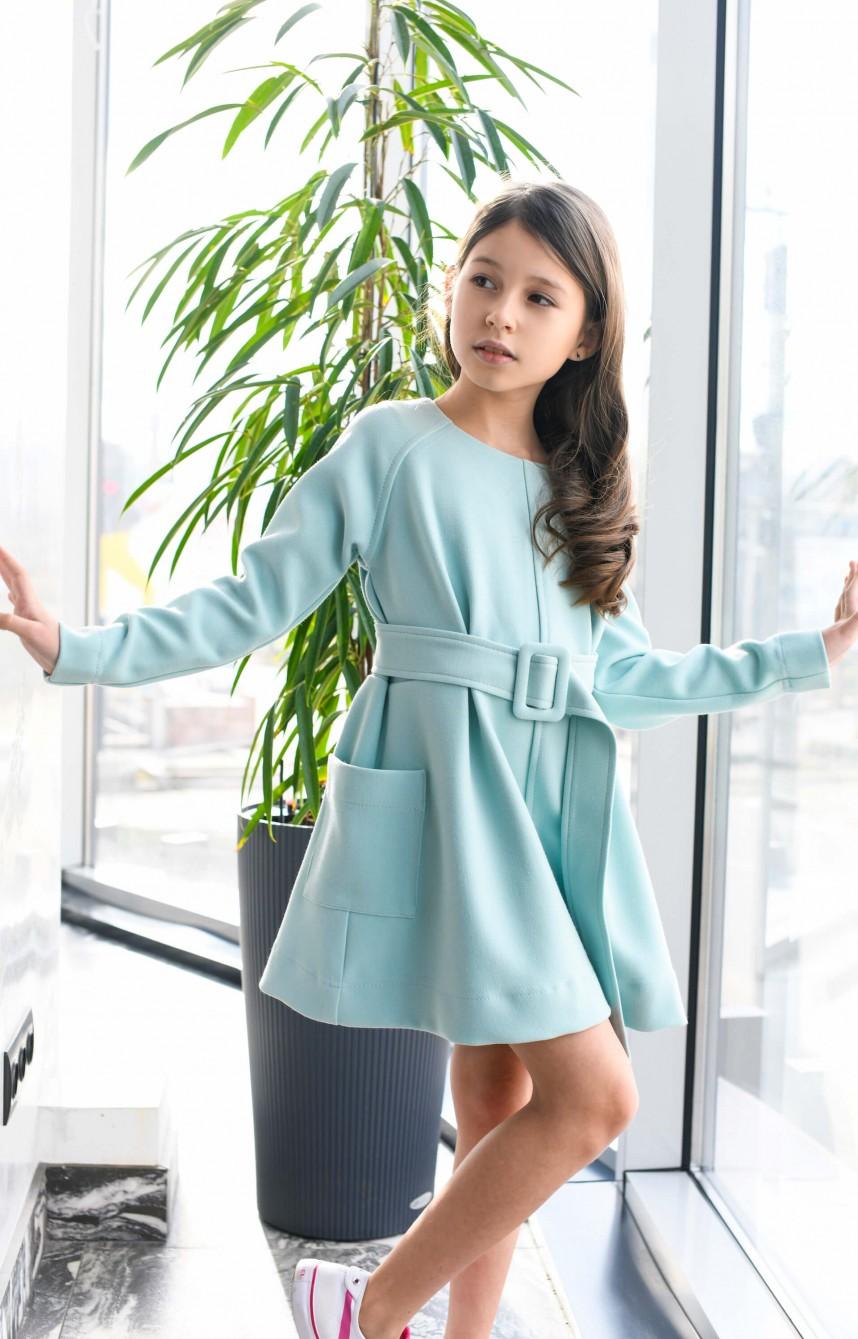 Сукня з широким поясом блакитна