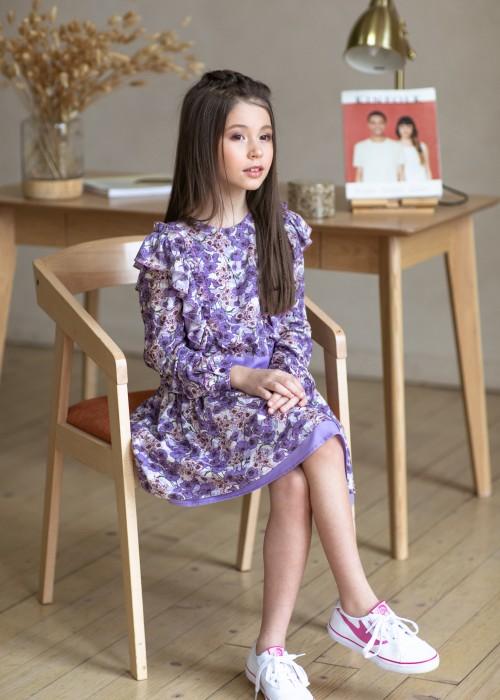 Сукня лавандова з рюшами