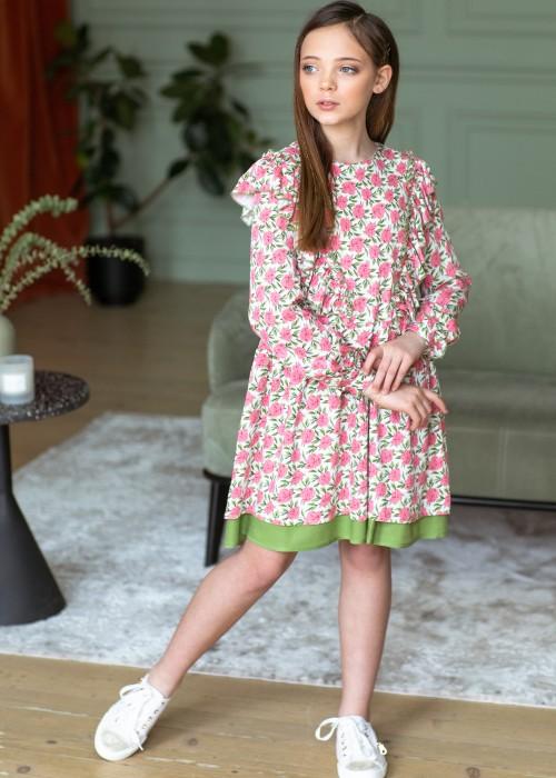 Сукня рожево-оливкова з рюшами