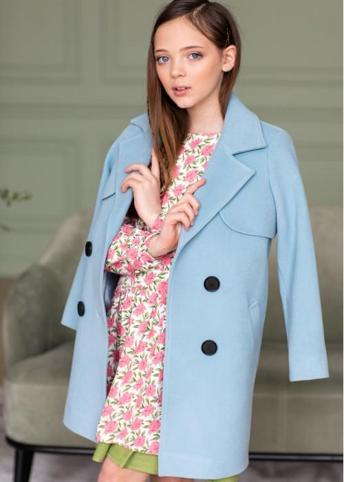 Пальто з кокеткою блакитне