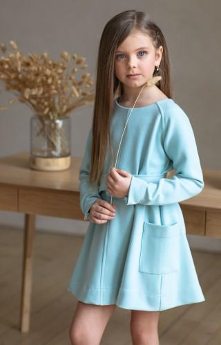 Платье c широким поясом голубое
