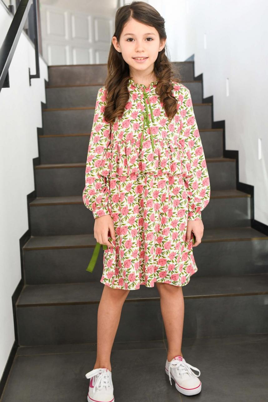 Сукня зі стрічками рожево-оливкова
