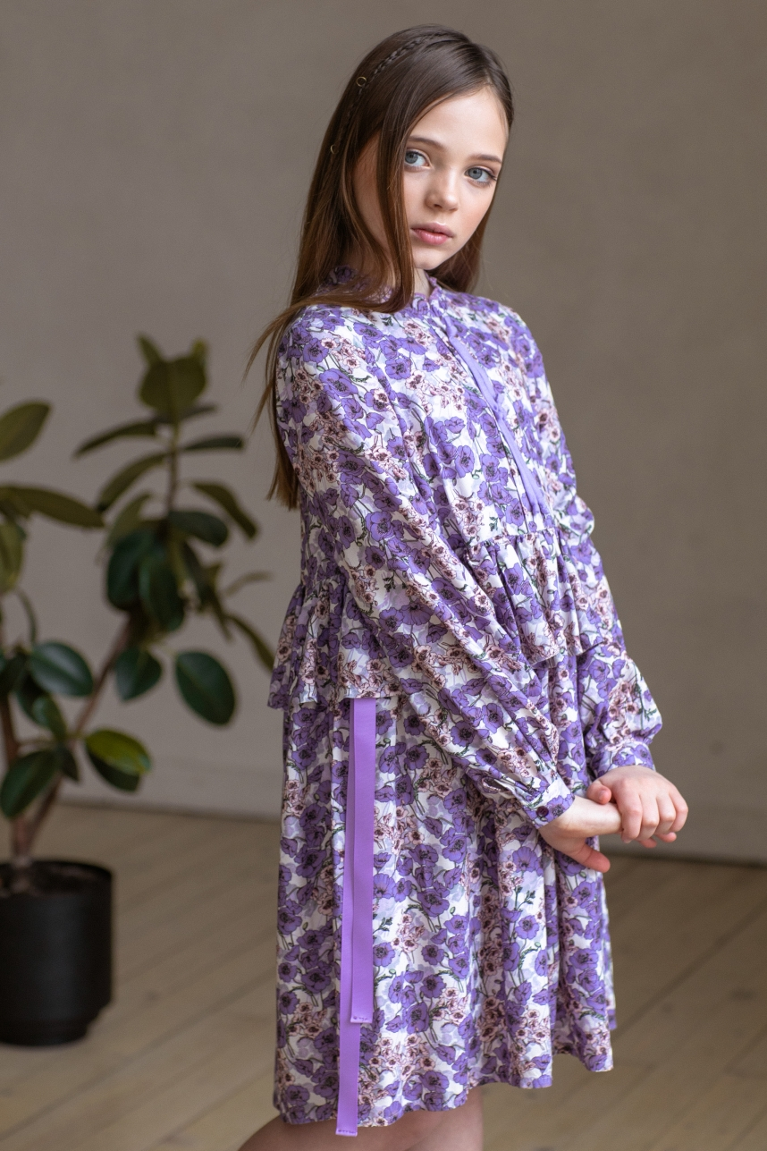 Сукня зі стрічками лавандова
