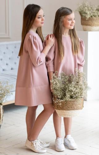 Платье c рукавами-буфами розовое