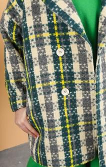 Пальто в клітинку зелено-жовте