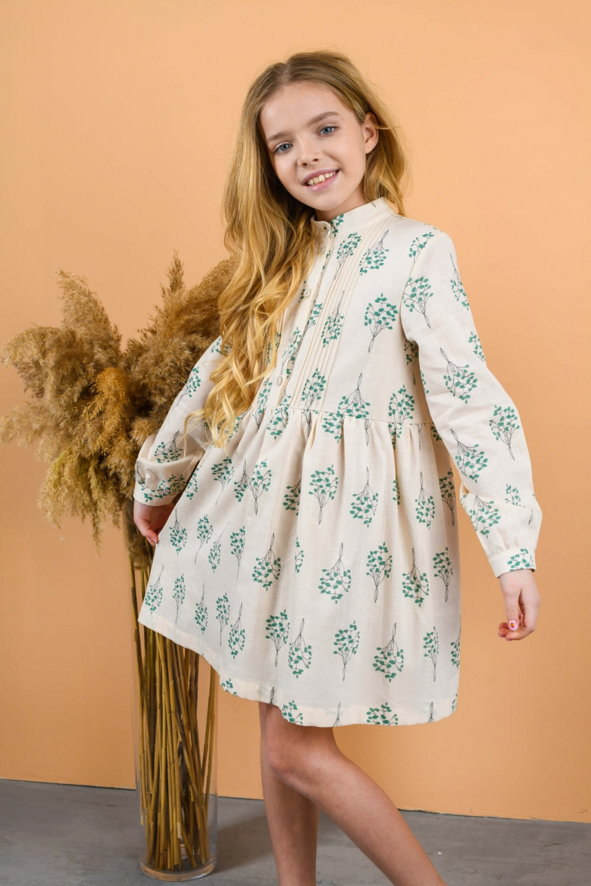 Платье-рубашка кремовое