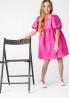 Сукня з екошкіри кольору Барбі
