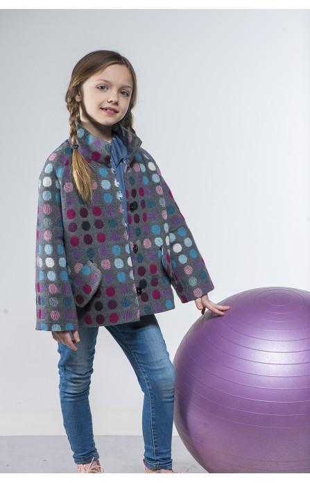 """Пальто """"Bubbles"""" фіолетово-сіре"""