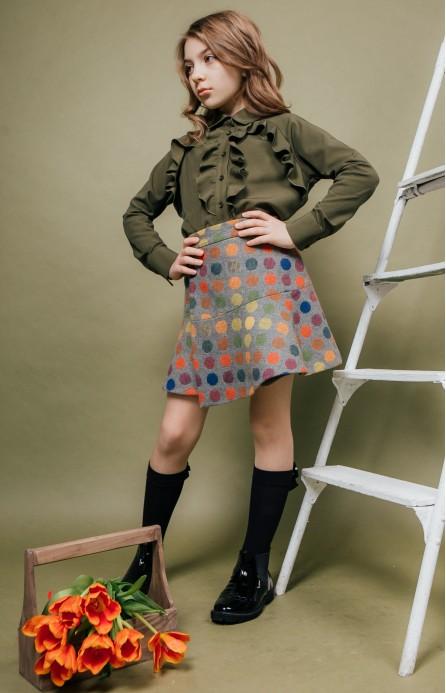 Блуза з воланами кольору хакі