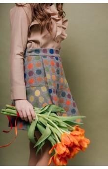 Спідниця в горошки помаранчево-сіра