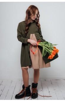 Сукня хакі + мигдаль