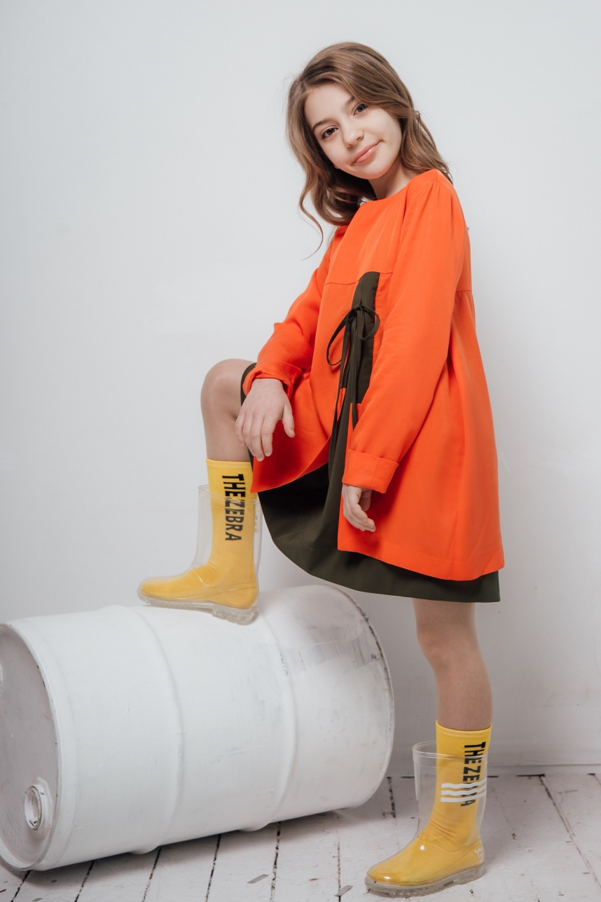 Сукня хакі + помаранч