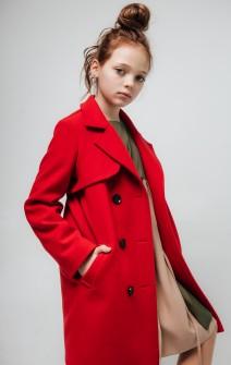 Пальто з кокеткою червоне