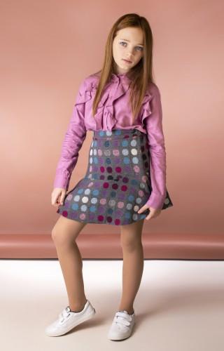 Блуза с воланами розовая