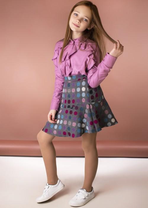 Блуза з воланами рожева