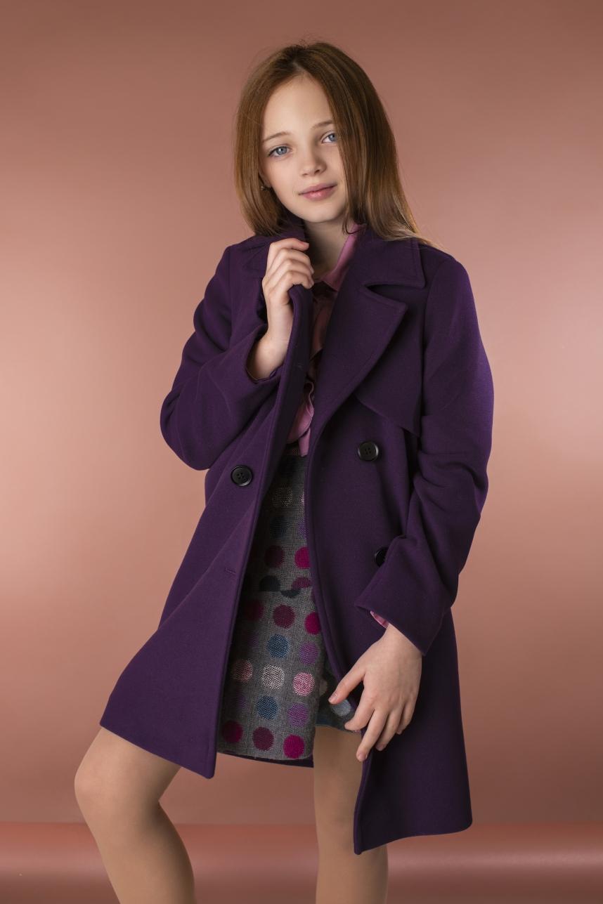 Пальто з кокеткою фіолетове