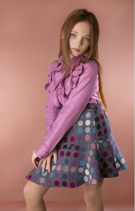 Спідниця в горошки фіолетова-сіра